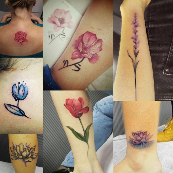 קעקוע פרחים צבעוניים